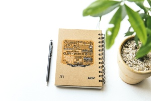 notebook, pencil, plant, pot, notebook