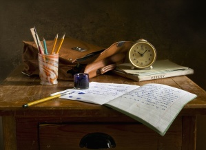 wooden, writing, bag, book, clock, desk, ink