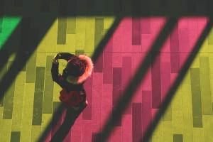 concrete, pavement, person, woman, color