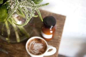 jar, mug, plant, table, vase, coffee cup