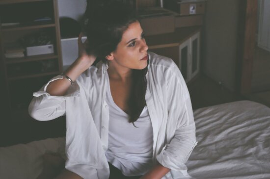 bed, female, person, woman, shirt