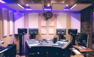 Audio, üzleti, szoba, elektronika, equalizer, felszereltség, hangszórók, stúdió