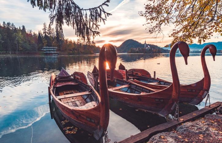boat, lake, landscape, mountain, nature, ocean, romance