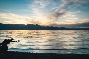 sea, silhouette, water, beach, dusk, sky