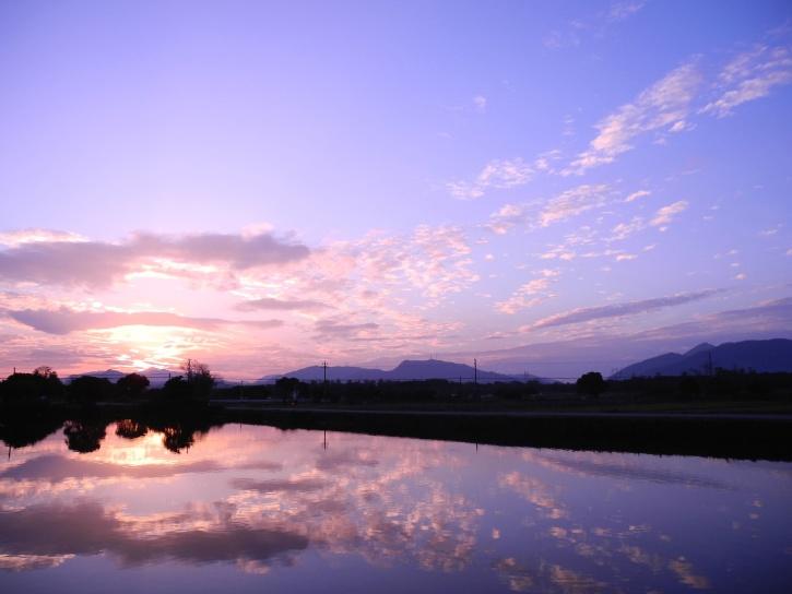 cloud, dusk, landscape, mountain, nature, tree, water
