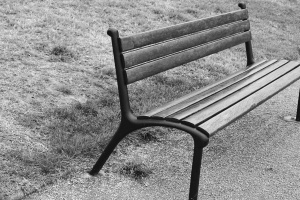 bench, monochrome, park, pavement, seat, wood, garden, grass, landscape