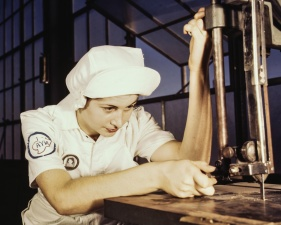factory, girl, industry, machinery, manufacturing, uniform, woman
