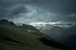 neige, vallée, hiver, nuageux, herbe, paysage, montagne, nature