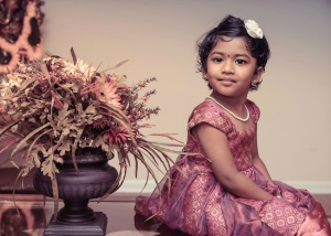 portrait, child, flower, girl, India, kid, young