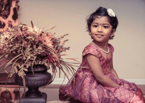 Ritratto, bambino, fiore, ragazza, India, ragazzo, giovane