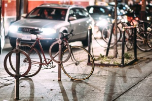 architecture, bicycles, buildings, cars, city, lights, evening