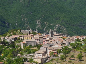 town, tree, village, buildings, hill, home