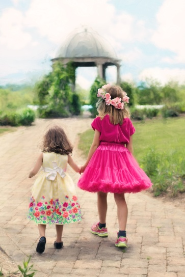 children, color, dresses, flower, garden, girls, spring, summer