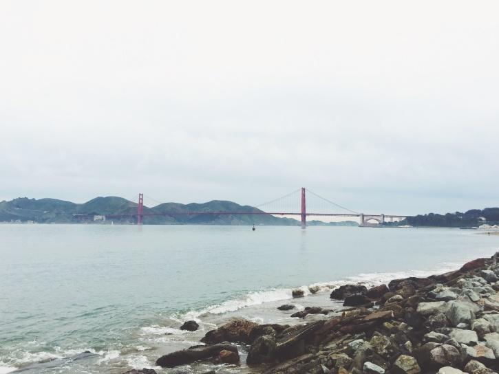 bridge, cloud, mountains, rock, sea