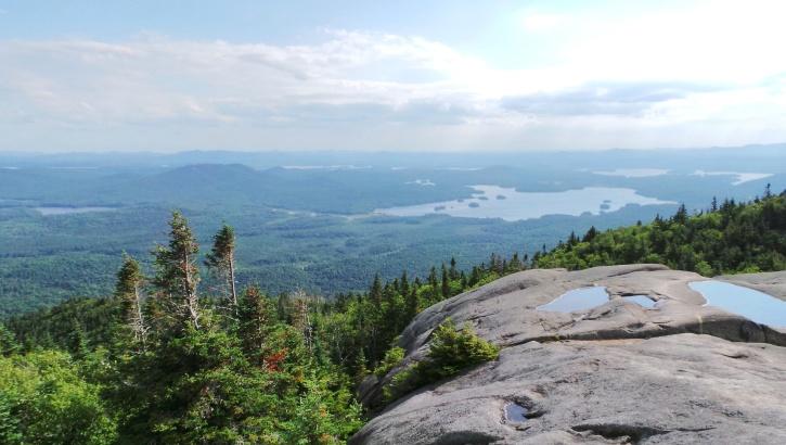 rocks, sky, tree, water, wood, mountain