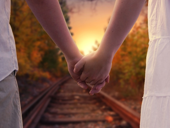 love, railroad, railway, sweet, hands, boyfriend, girlfriend