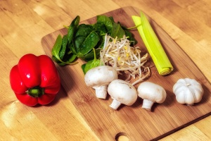 pepper, paprika, vegetables, food, ingredients, leek, mushrooms