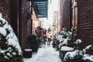 sníh, ulici, město, zima, architektura, budovy, město
