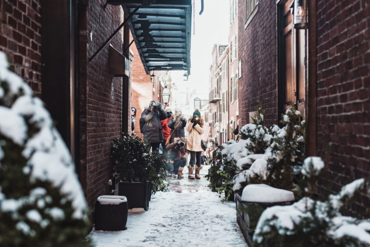snow, street, town, winter, architecture, building, city