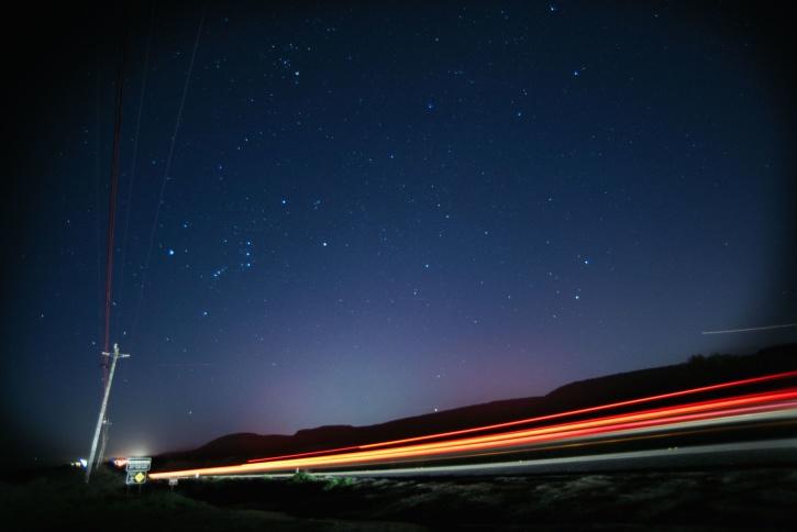 road, stars, street, transportation, highway, light, streaks