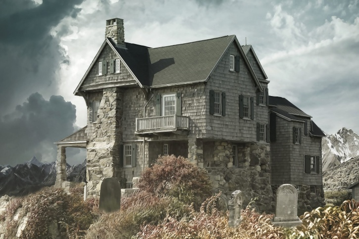 balcony, house, cemetery, cloud, facade, windows, home