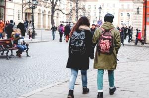 chodník, lidé, pouliční, městské, city, dav