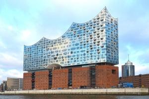 arquitetura, construindo, cidade, sala de concertos, água