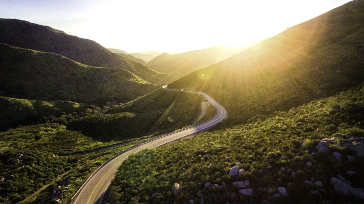 road, grass, grassland, highway, summer, sun