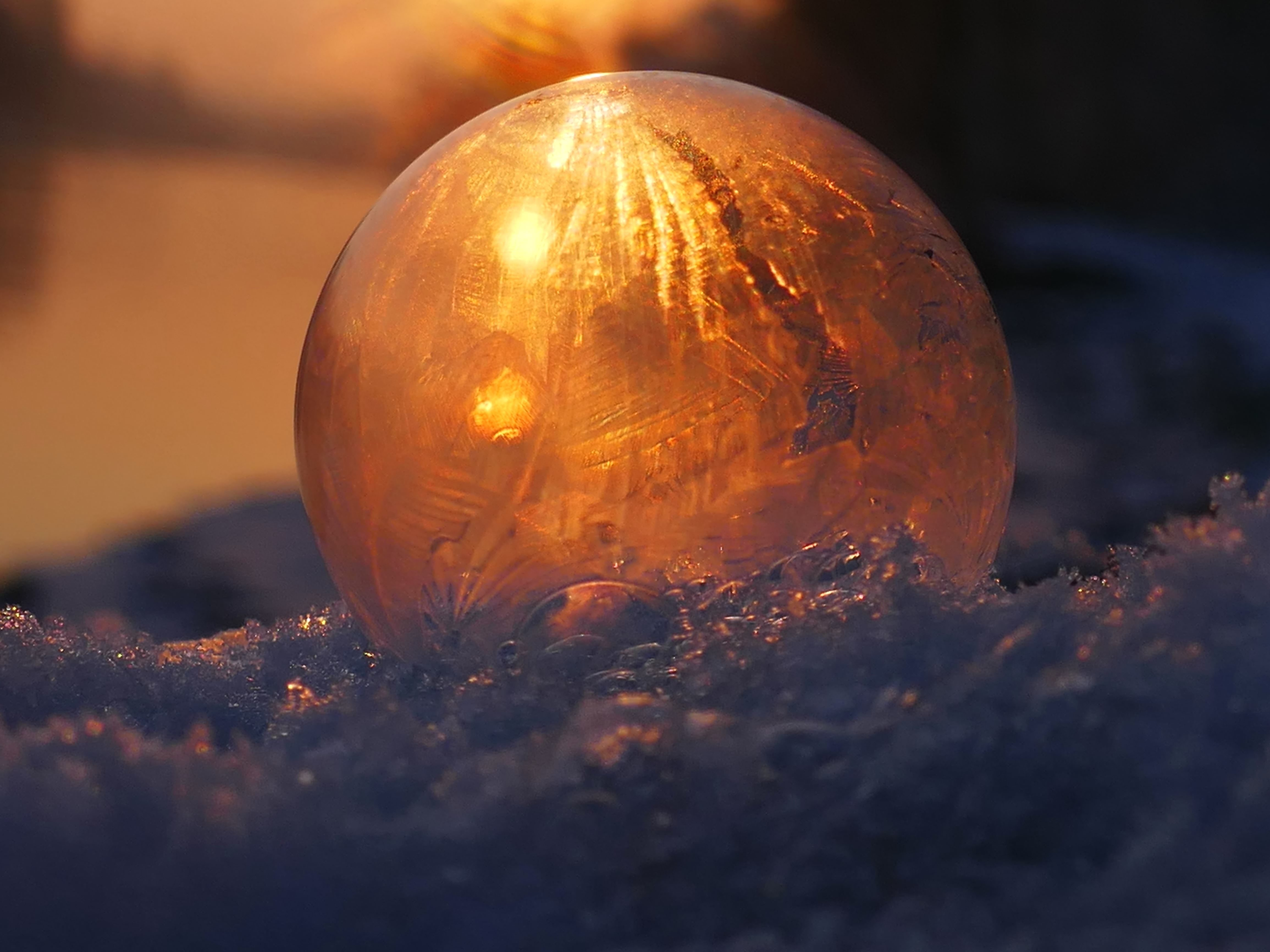 Free Picture Frozen Ice Light Reflection Round Snow