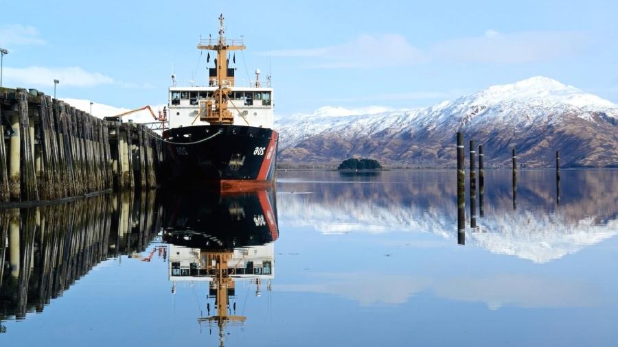 ship, sky, snow, vessel, water, winter, harbor, ice, lake