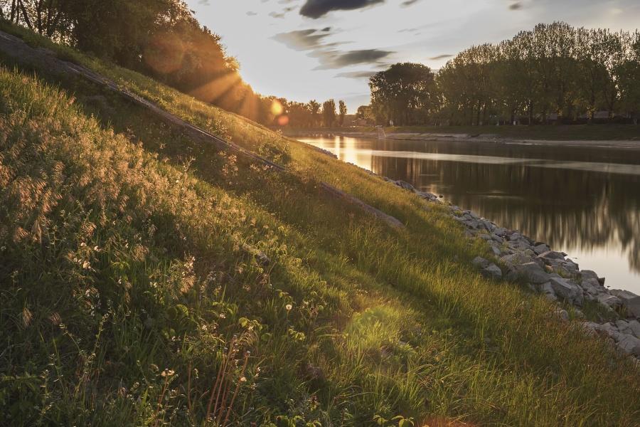 river, rock, sun, water, grass, nature