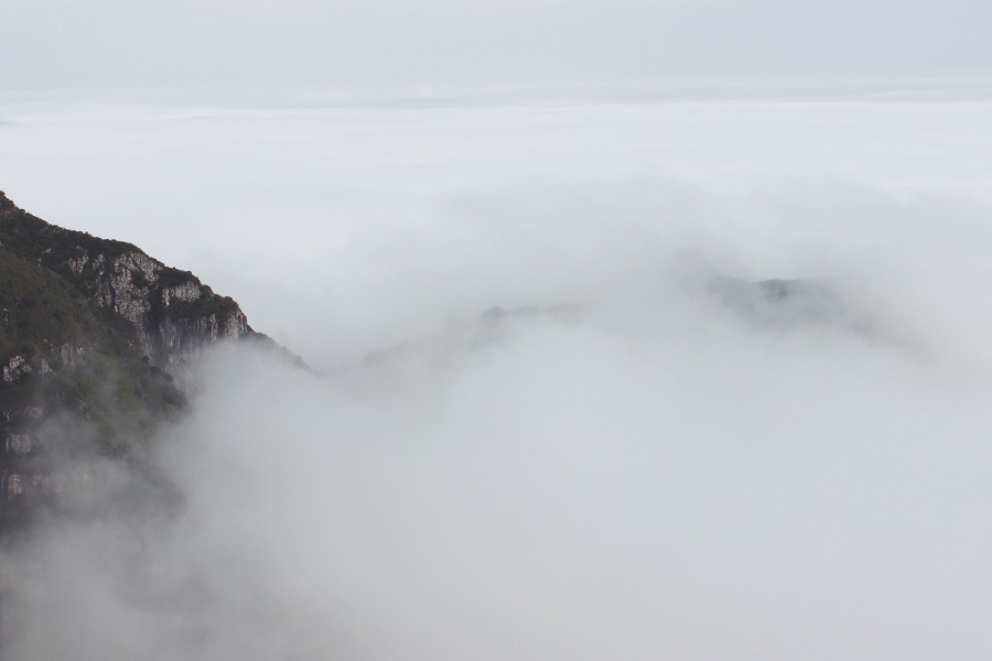 mountain peak, sky, weather, mountain, fog, cloud