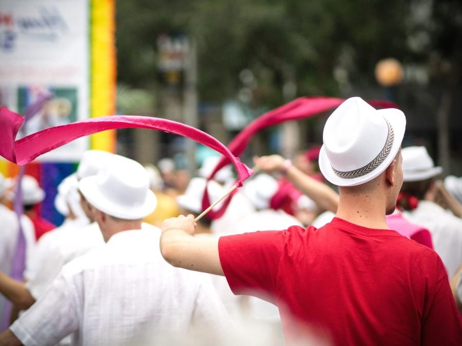 klobouky, muž, hudba, průvod, lidé, oslavy, město, dav, festival