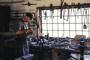 hombre, taller, producción, habilidades, herramientas, craftsman, equipos