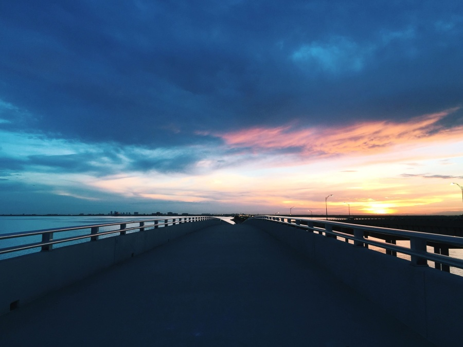 sea, road, sky, sun, beach, bridge, cloud