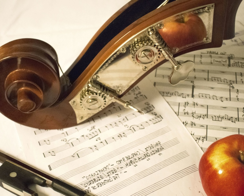 music, apple, instrument, paper, sheet, music