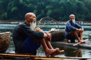 men, relaxation, river, travel, tree, water, bald, Asia, boats