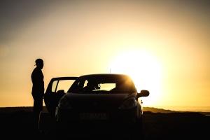 coche, atardecer, silueta, noche, luz, sol, vehículos, Fondo