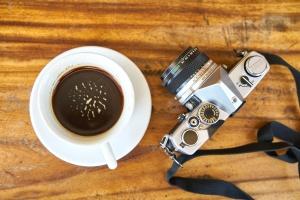 Kaffee-Tasse, Foto-Kamera, Foto, Objektiv, Cup, Kamera, Tabelle