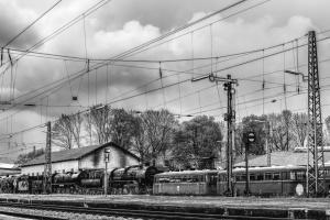 монохромен, вагон, влак, релси, небе, стари, жп, станция, превозно средство
