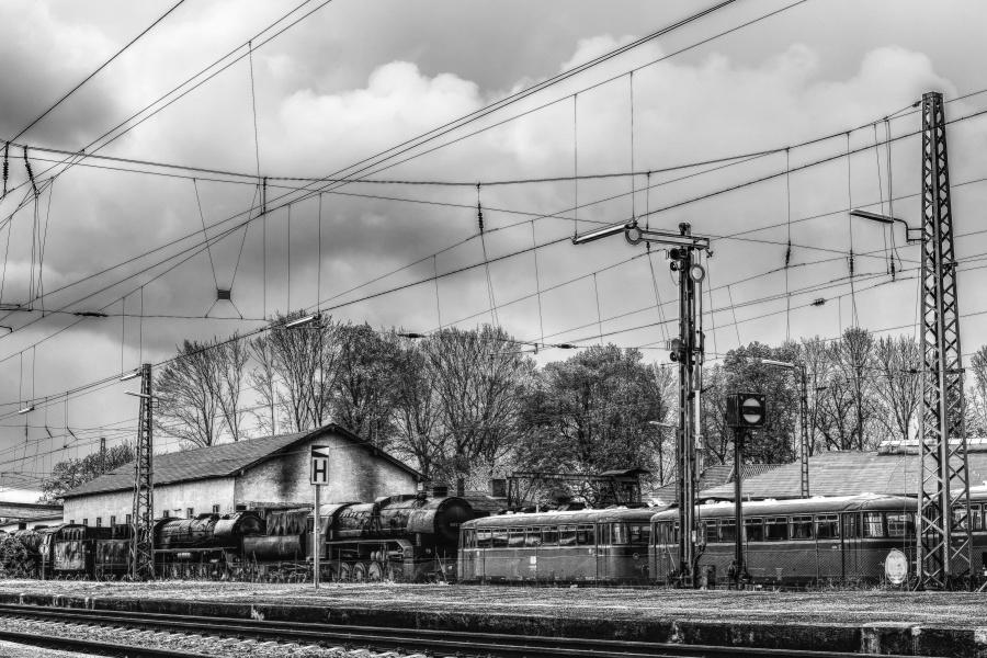 monochrome, wagon, train, rails, sky, old, railway, station, vehicle