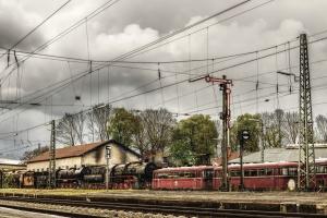 plataforma, estación de tren, vehículo, viejo, cielo, tren, estación de tren