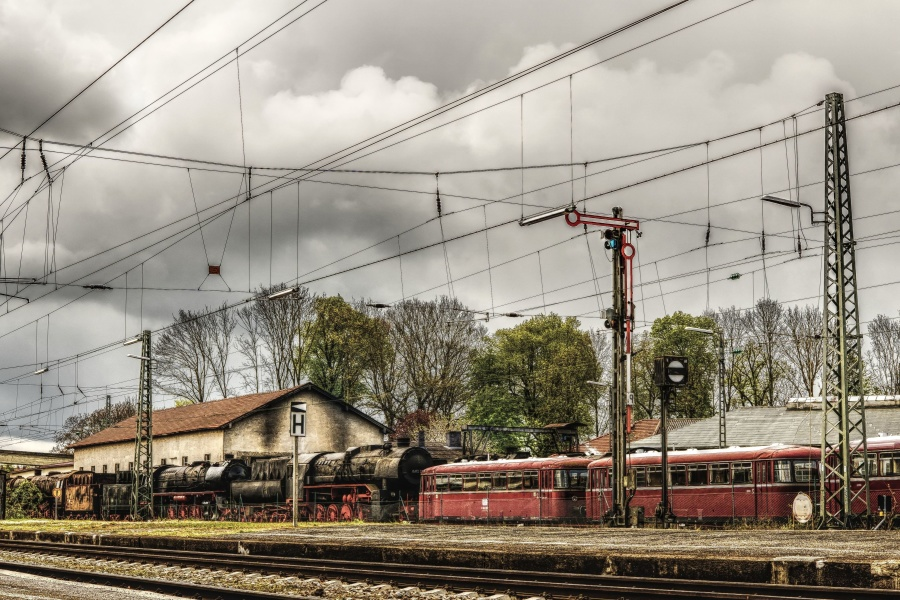 platform, train station, vehicle, old, sky, train, railway station
