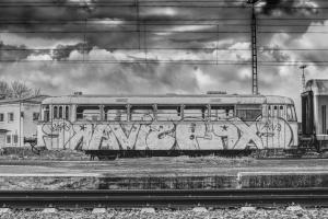монохромен, история, жп, станция, небе, стар, вагон, влак