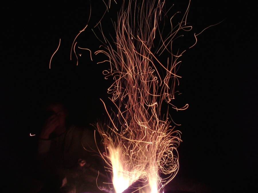 firewood, night, flame, fire, spark