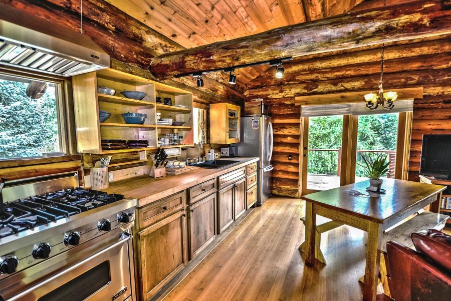 wood, kitchen, stove, interior, furniture, windows, doors
