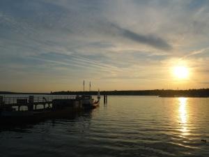 lake, sunset, sky, water, dock, dusk, ocean