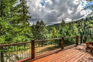 planine, ograda, oblak, palube, drvo, ruralnom području, stabala, borova