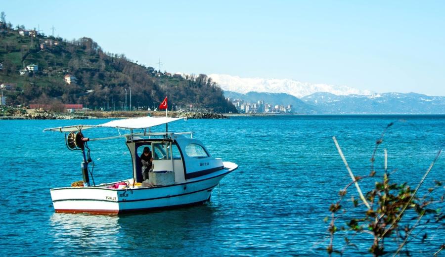 boat, fisherman, ship, blue, summer, landscape, sky, beach, sea