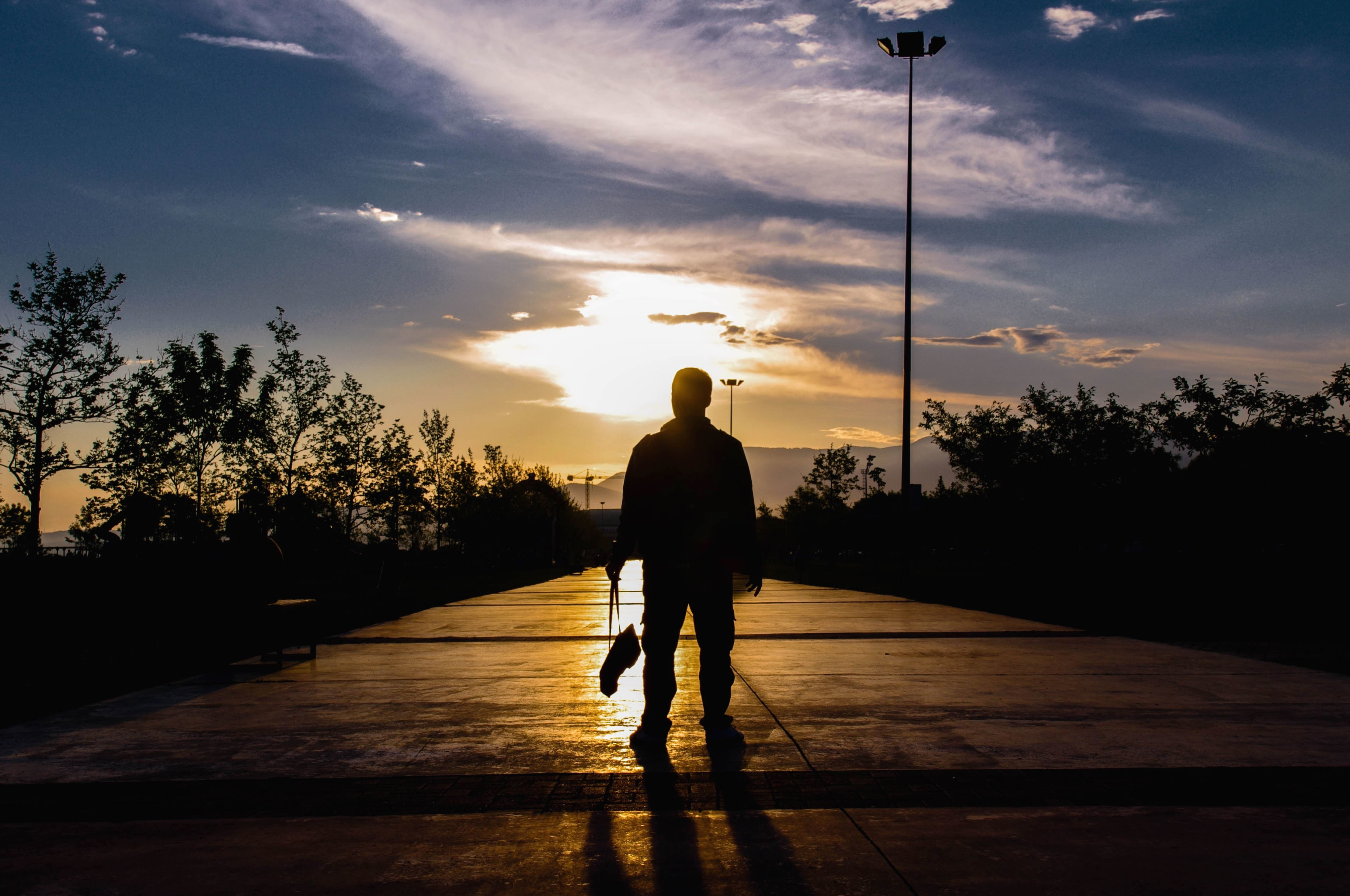 Free picture: sun, sky, silhouette, sunset, shadow, man